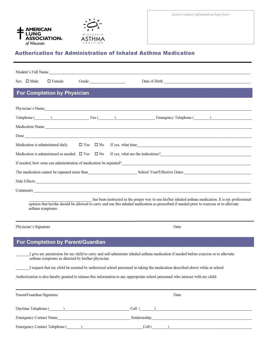 Authorization for Administration of Inhaled Asthma Medication