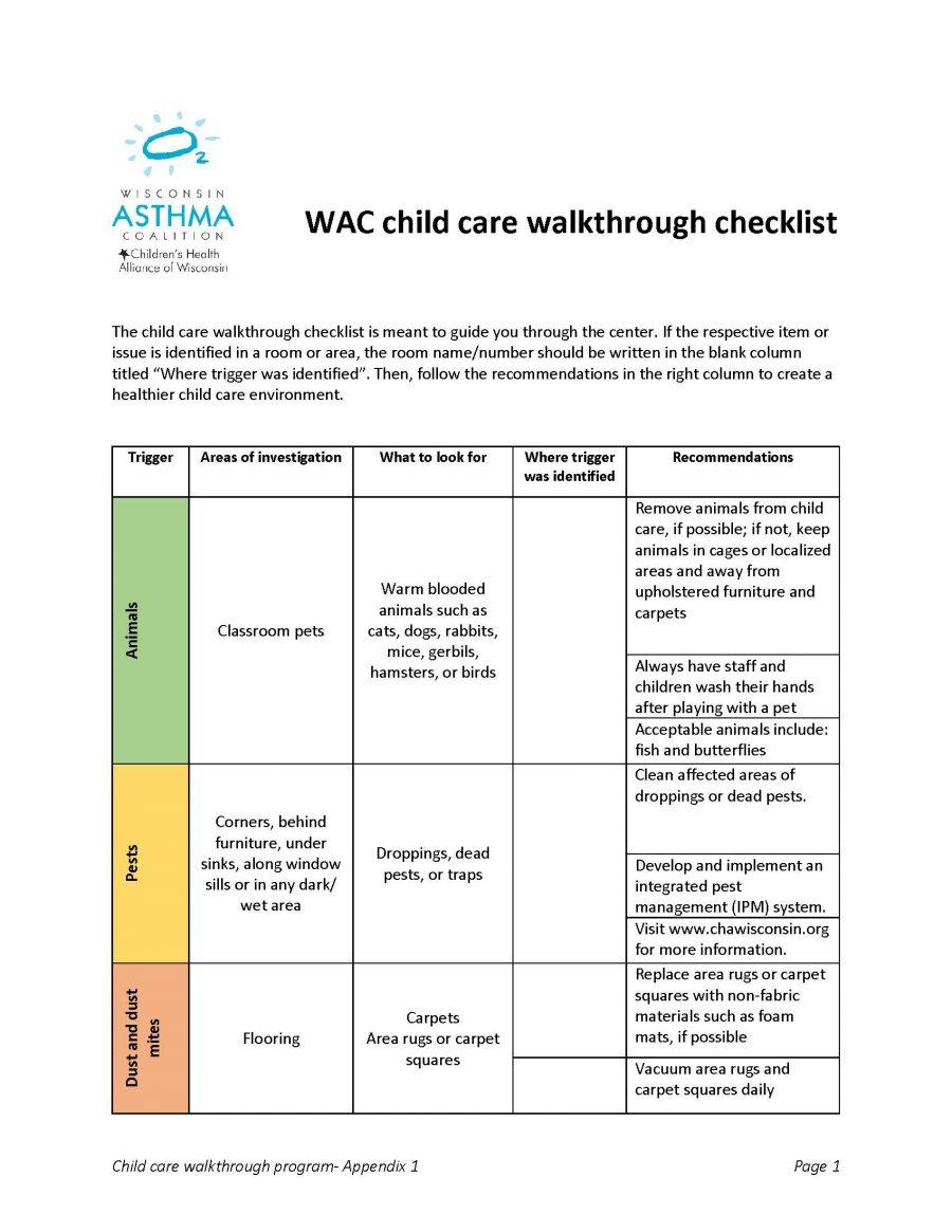 Child Care Walkthrough Checklist