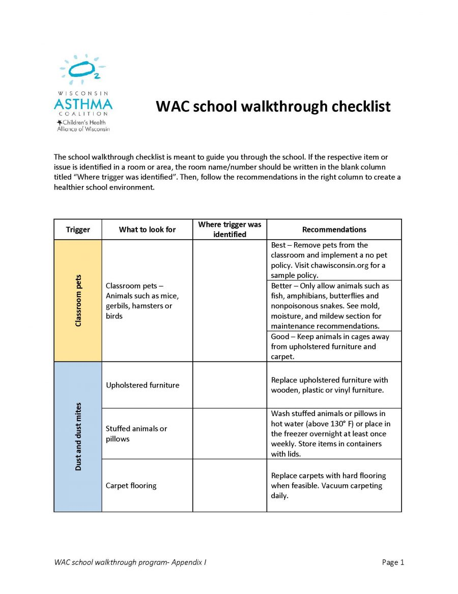 School Walkthrough Checklist