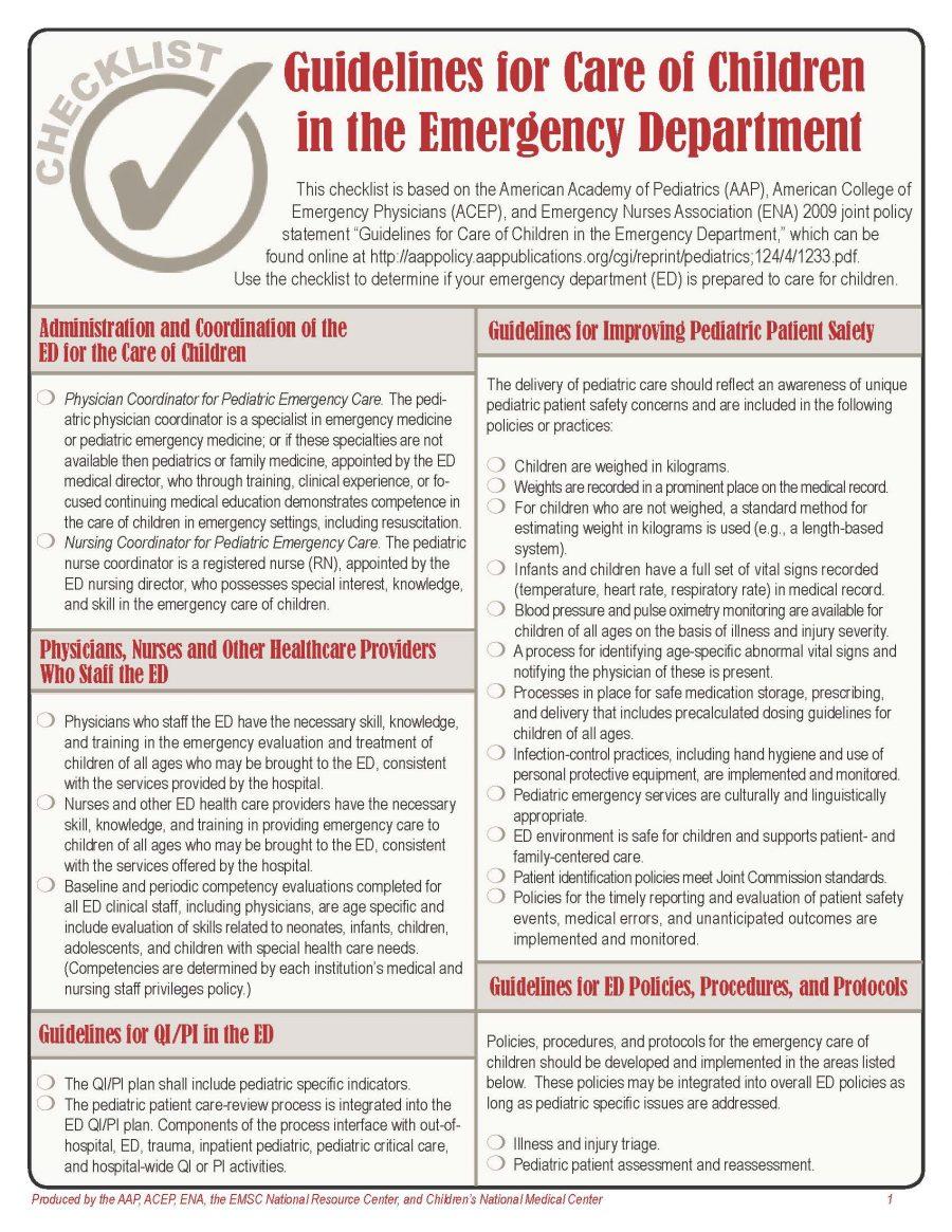 Emergency Department Checklist