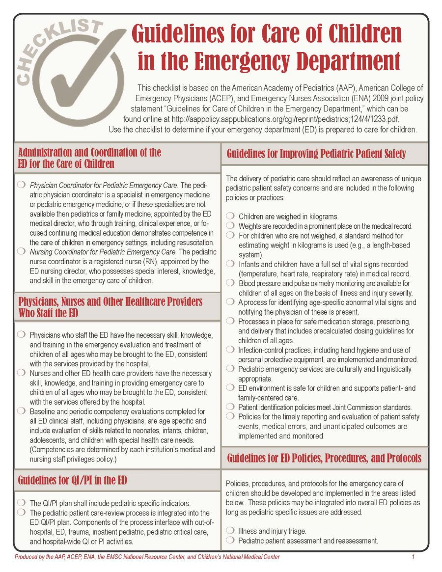 Guidelines for Care of Children in the Emergency Department