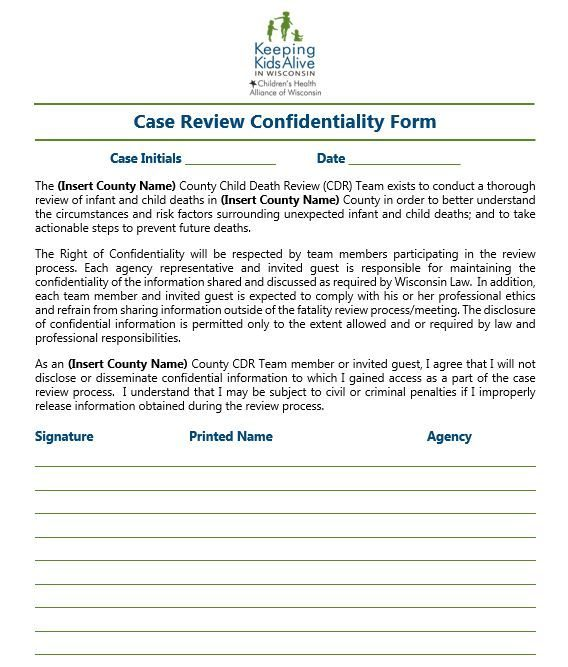 CDR Case Confidentiality Form Template