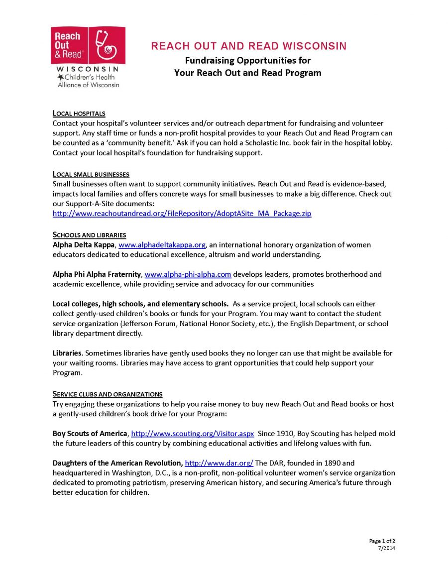 Fundraising Opportunities for Your Reach Out and Read Program