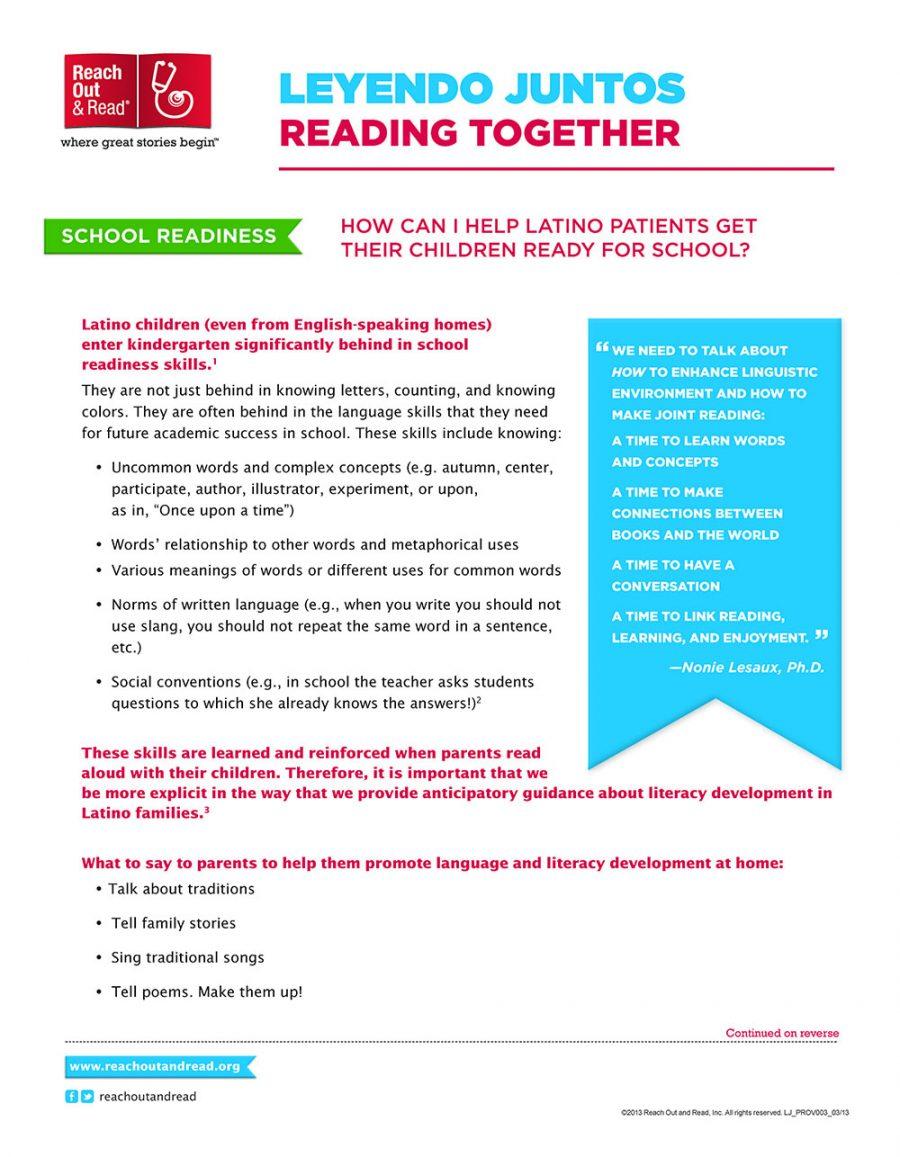 Leyendo Juntos (Reading Together) Latino School-Readiness
