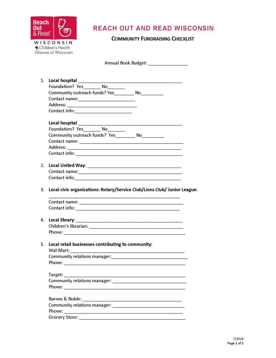 Community Fundraising Checklist