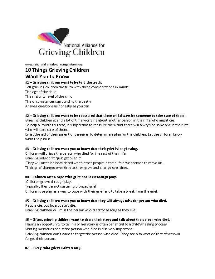 Ten Things Grieving Children Want You to Know