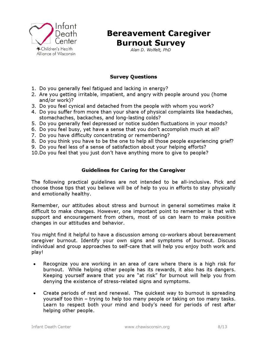 Bereavement Caregiver Burnout Survey
