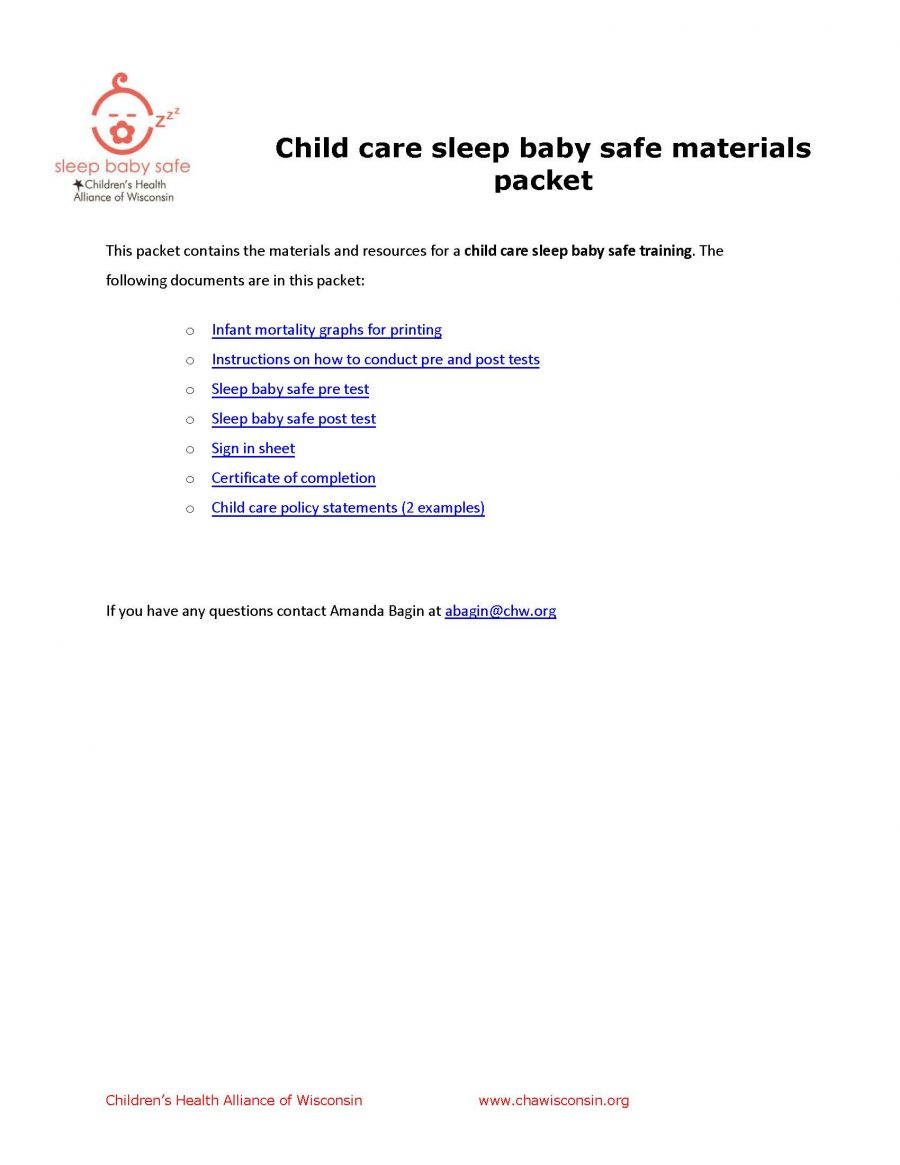 Child Care SBS Materials Packet