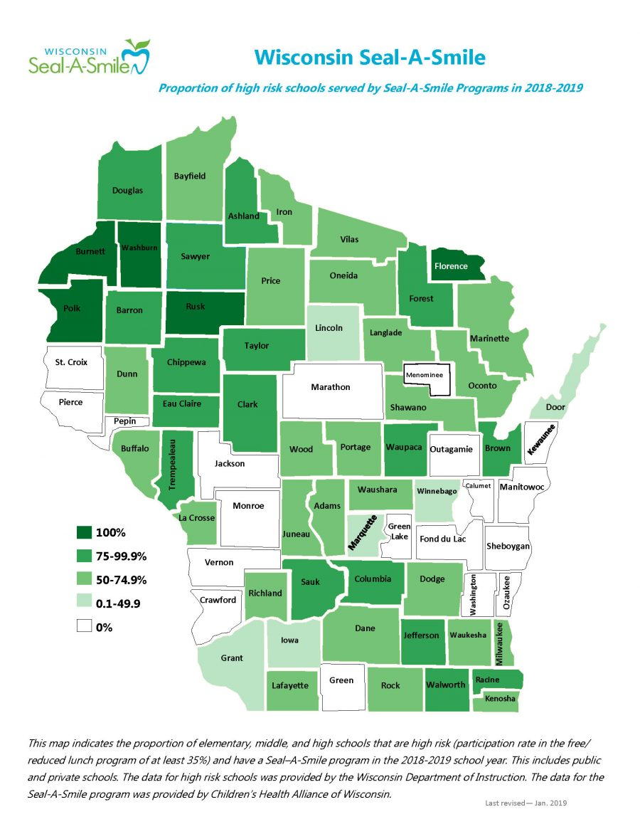 Wisconsin Seal-A-Smile Activity Map