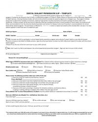 Dental Sealant Permission Slip