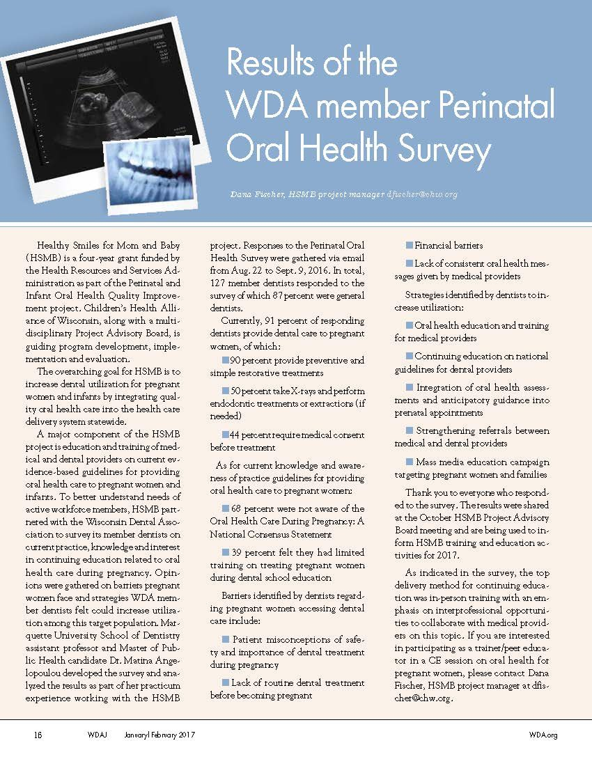 WDA Perinatal Oral Health Survey Results