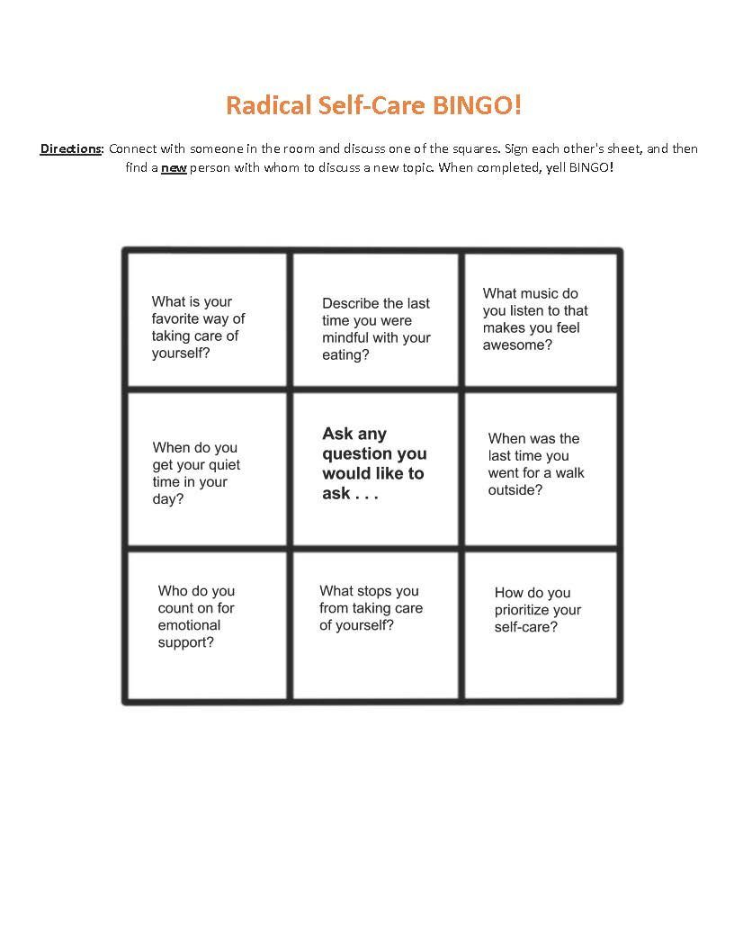 Self-Care Bingo
