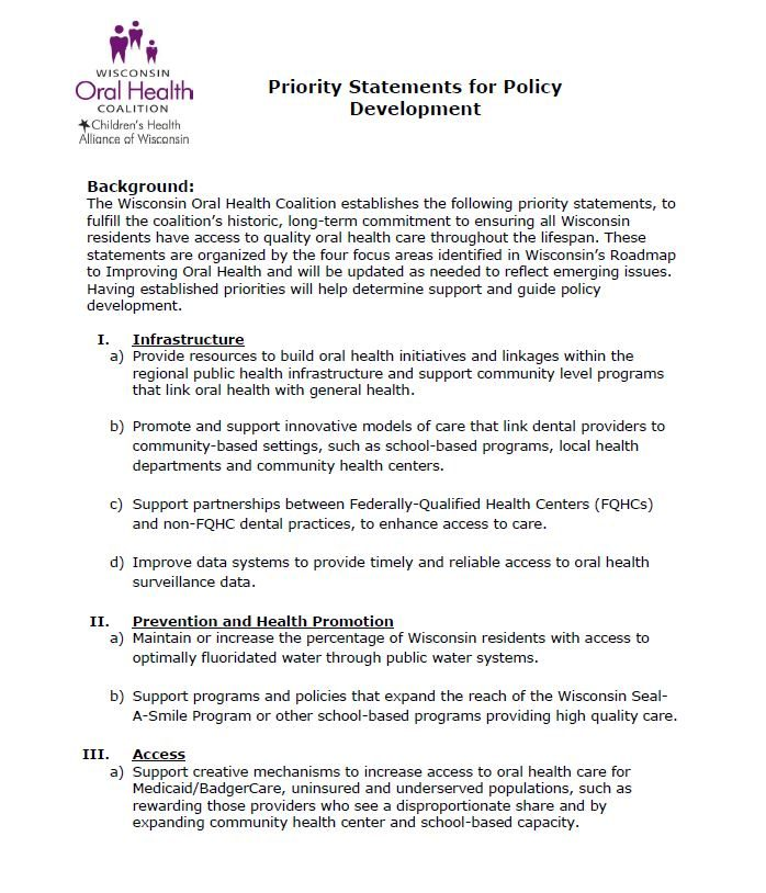 WOHC Priority Statements for Policy Development